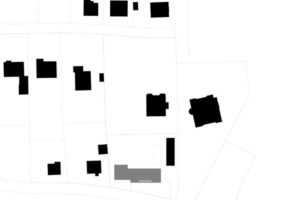 Situační plán, na němž je stavba vyznačena šedou barvou.