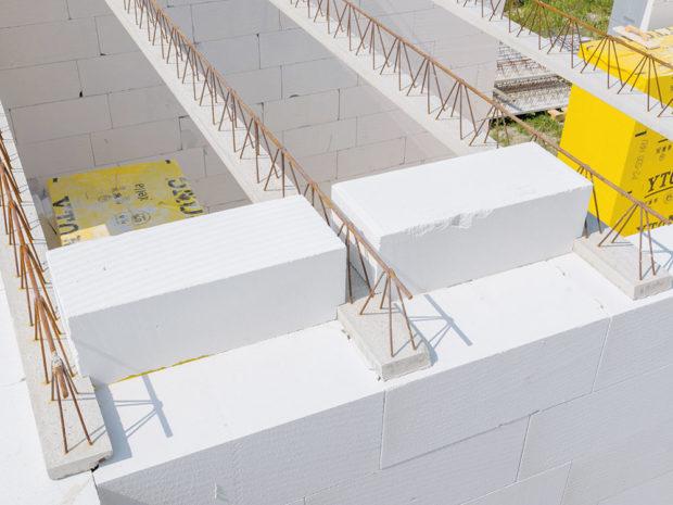 Uložení stropních vložek - Pórobetonový montovaný strop
