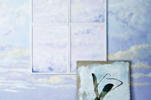 Stěna smotivem oblaků