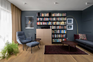 obývací pokoj knihovna