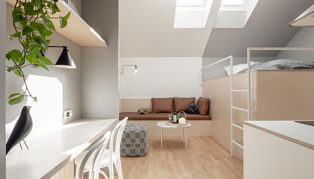 Miniaturní podkrovní byt aneb Co se dá vykouzlit na třiadvaceti metrech čtverečních