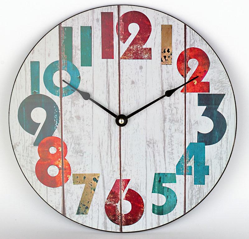 Nástěnné hodiny, MDF deska, ø 30 cm, 218 Kč, novaline.cz