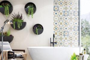 moderní koupelna so zelenou a vanou