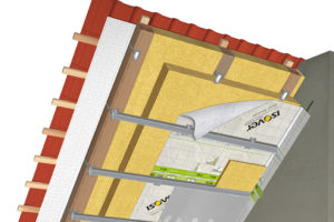 Skladba certifikované systémové šikmé střechy Isover: