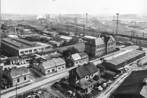 Letecký pohled na bývalý podnik Koventa