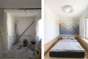 Ložnice před a po
