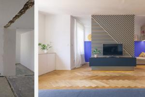 Obývací pokoj před a po rekonstrukci