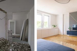 Obývací pokoj před a po
