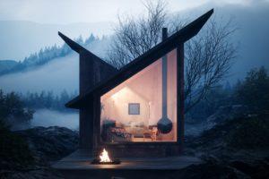 Výhled na ohniště z chaty