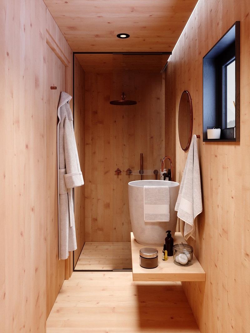 Koupelna v mini chate
