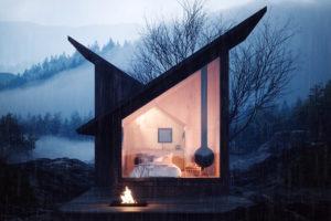 Chatka v lese s ohniskem