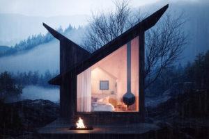 Chatka v lese ložnice