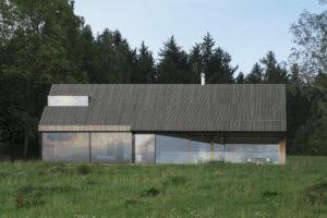 Modřín na fasádě a střeše