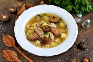polévka se sušenými houbami