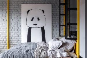 Spací část s tapetou pandy