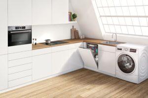 Pračka se sušičkou v kuchyni