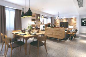 Moderni jídelna s obývákem