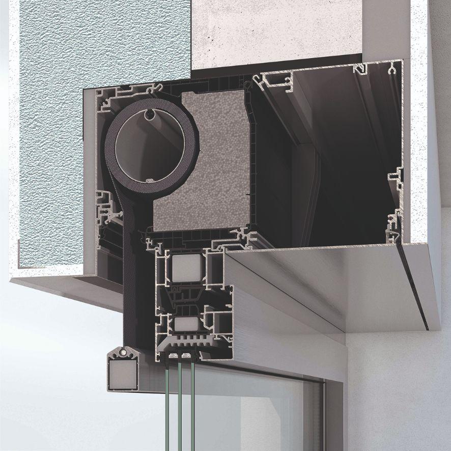 Prefabrikovaná a tepelně izolovaná roletová schránka clony