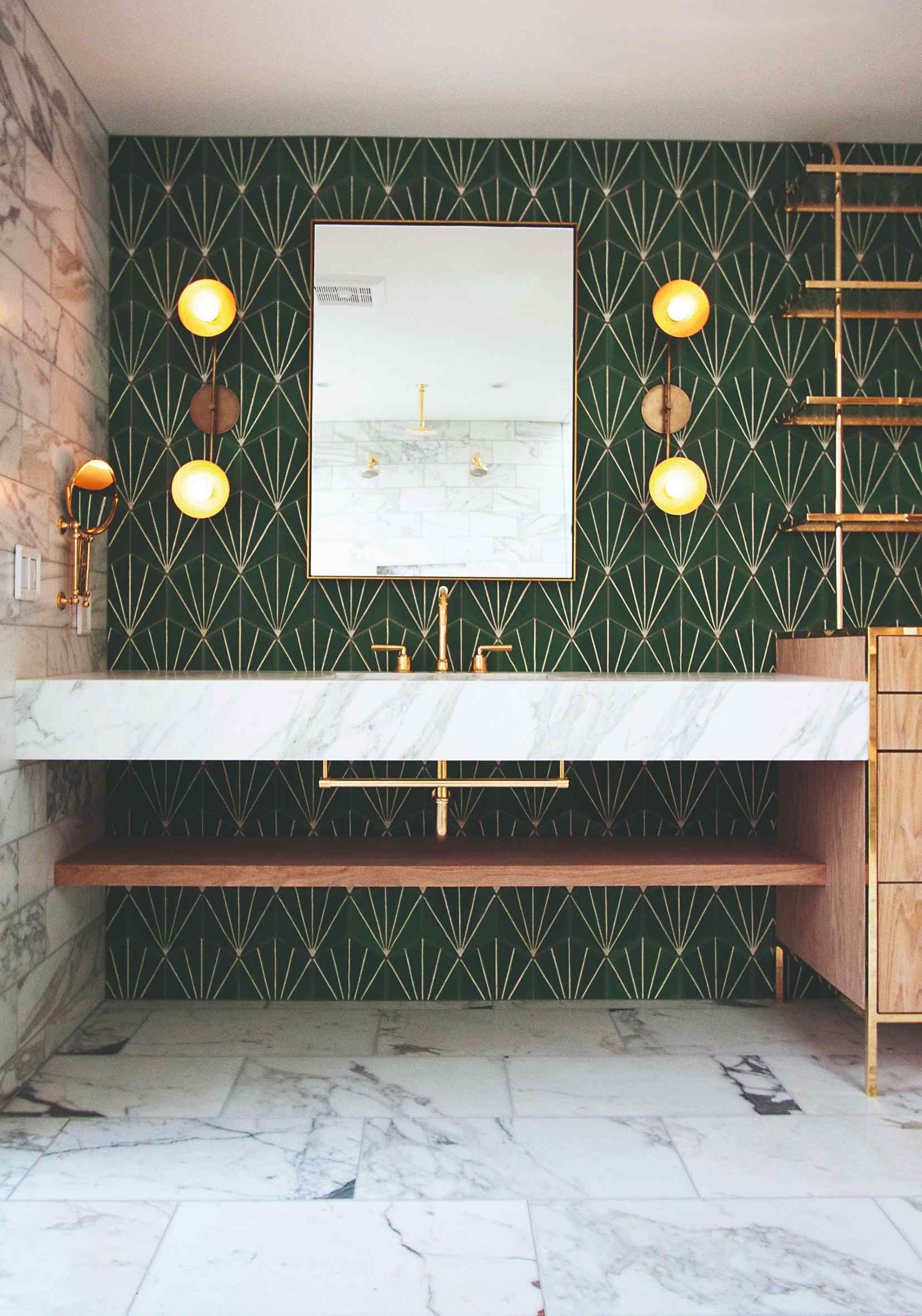 Koupelna laděná ve stylu art deco