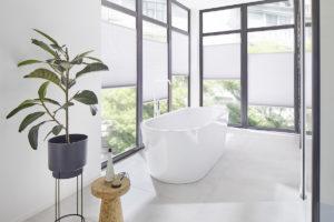 Volně stojící vana v prosklené koupelně