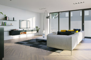 Bílý obývák s velkými okny