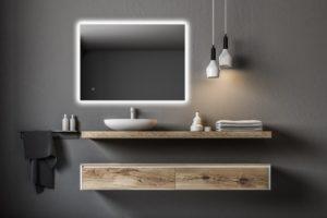 Hranaté podsvícené zrcadlo dotykový senzor