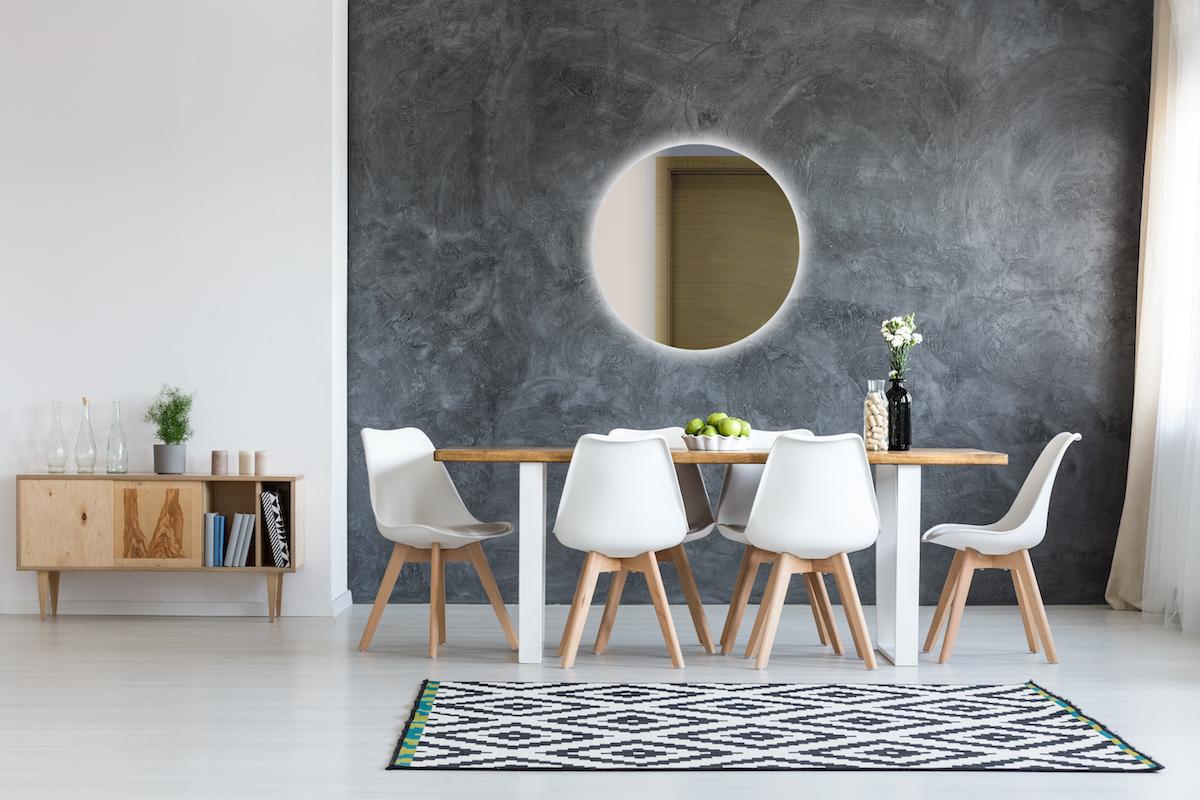 Podsvícené kulaté zrcadlo obývací pokoj