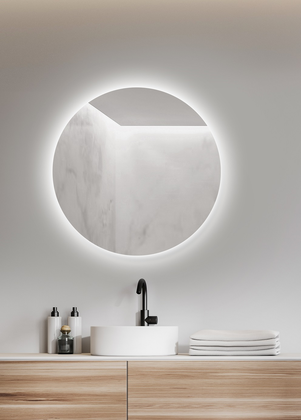 White bathroom interior with double sink