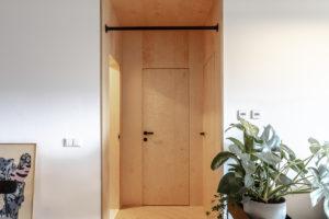 Dveře z překližky a hrazda