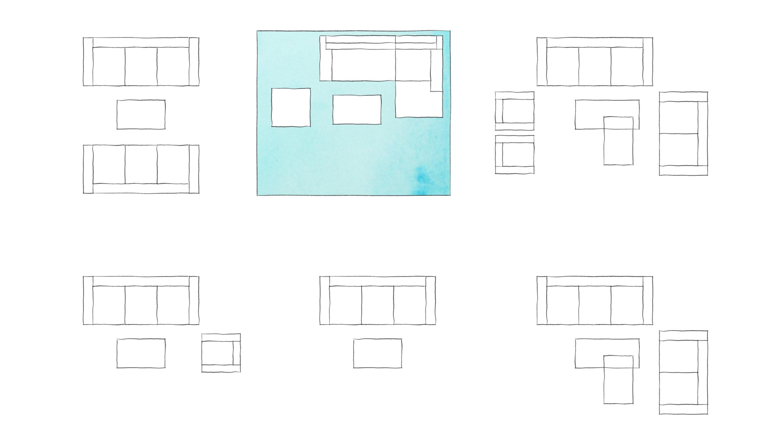 Schéma možnosti na uspořádání sezení v obývacím pokoji
