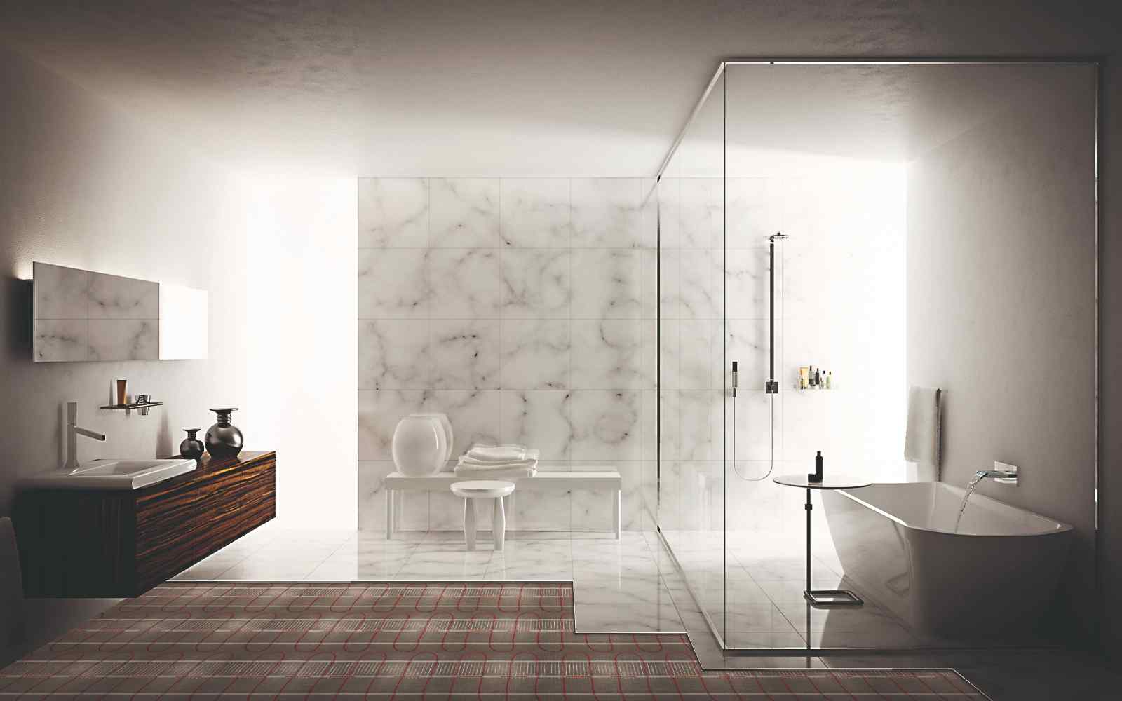 Elektrické podlahové vytápění v moderní koupelně
