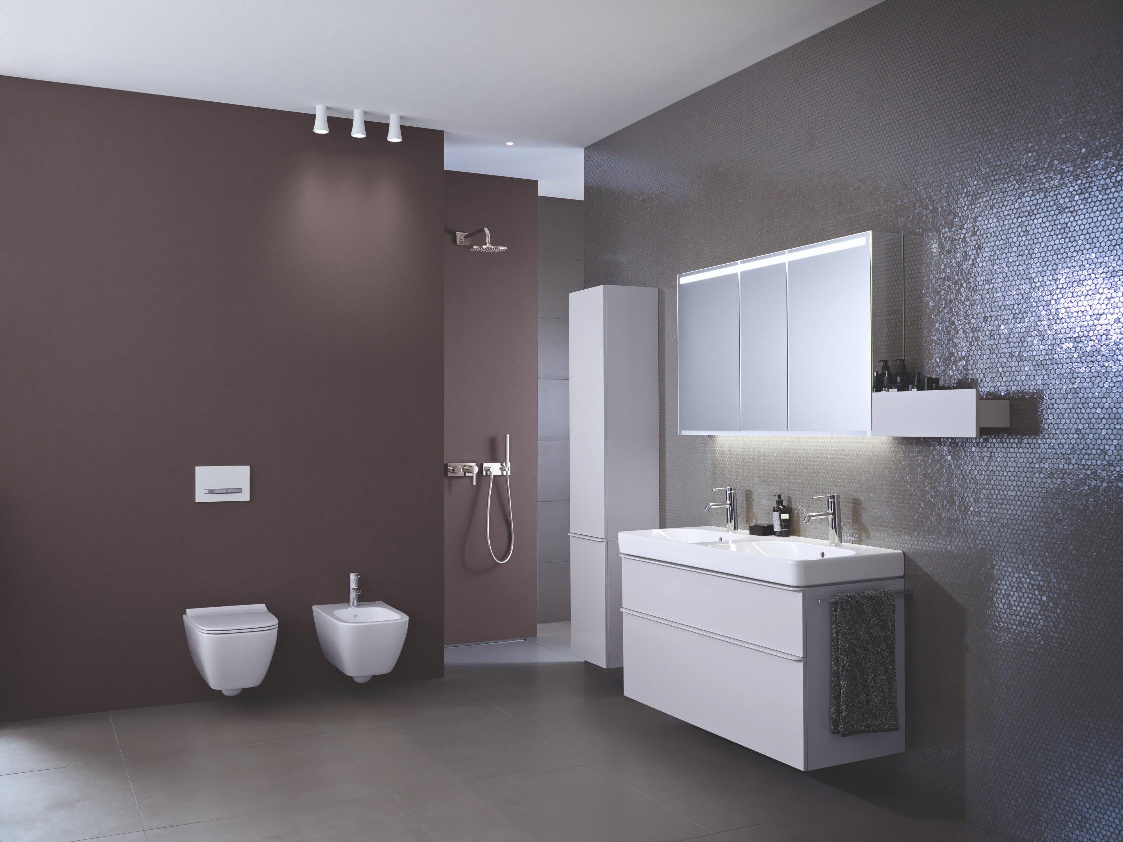 Bílá sanita v hnědé koupelně