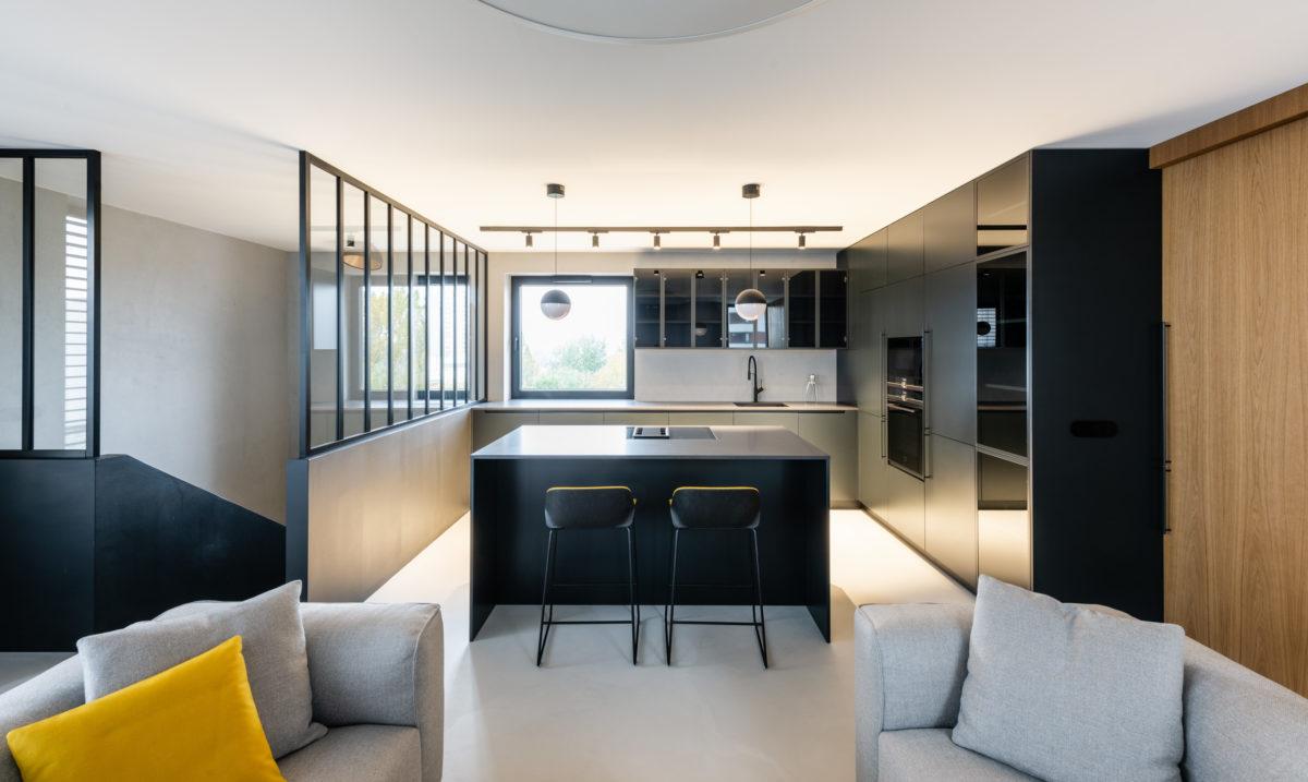 Patrový byt pro tříčlennou rodinu a dva psy. Precizní interiér s výhledem na hrad