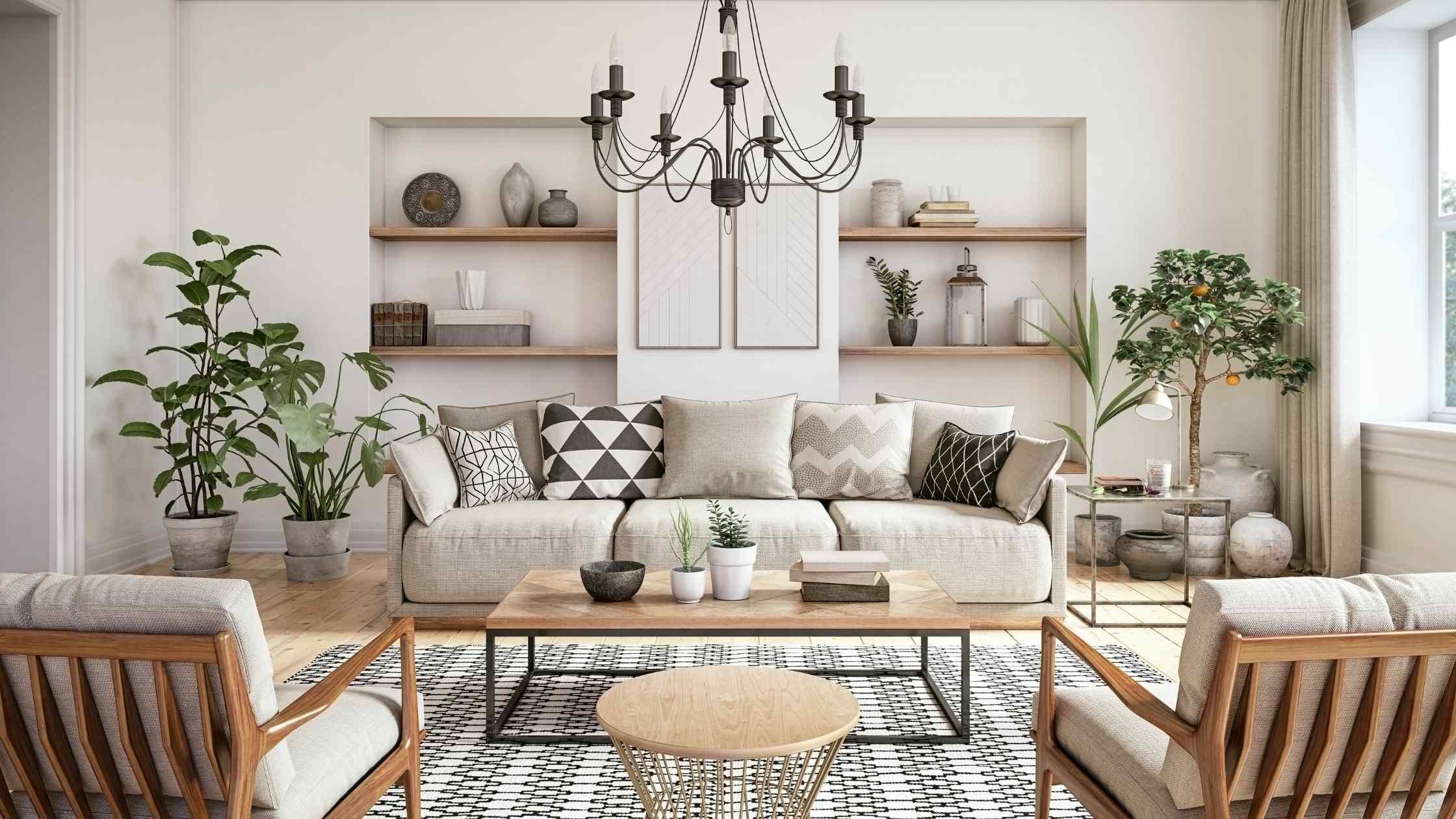 Obývací část v pastelových barvách s novým i starým nábytkem