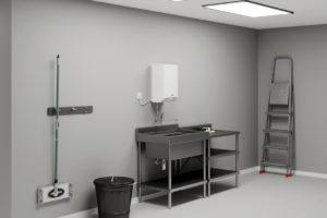 Ohřívač vody v technické místnosti
