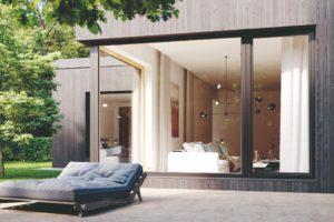 drevohlinikova_okna na domě s terasou
