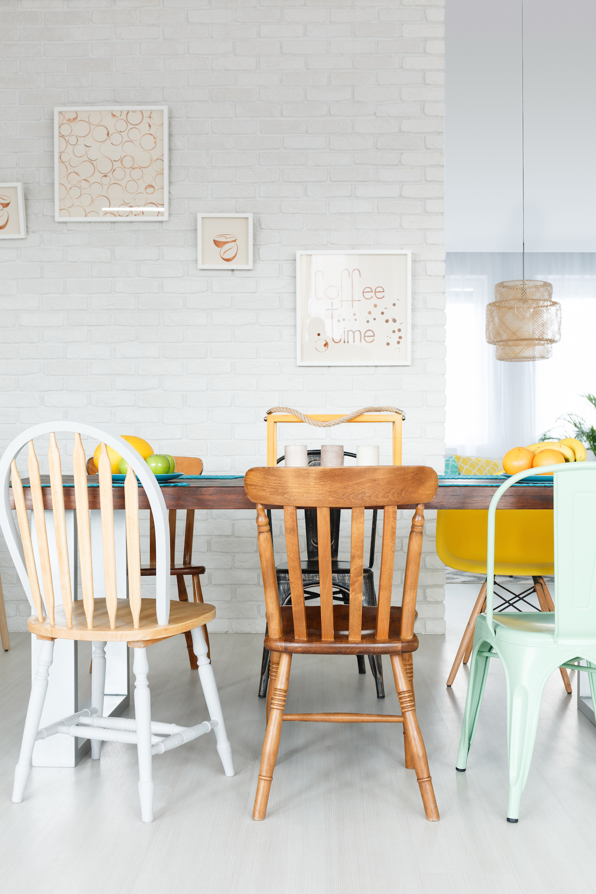 Dining,Space,With,Upcycled,Wooden,Chairs,And,Table,In,Stylish