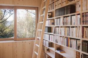 Drevěná knihovna s řebríkem