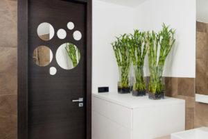 Zrcadlové otvory na dveřích do koupelny