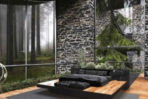 Moderní ložnice s prosklenou stěnou a přírodou