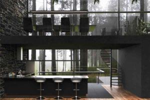Kuchyň a jídelna v dvou podlaží moderního domu