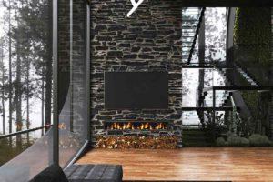 Černá velká pohovka v proskleném obýváku