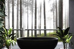 Volně stojící černá vana s výhledem na les