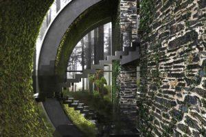 Polkruhové schodiště v moderní vile se zelení