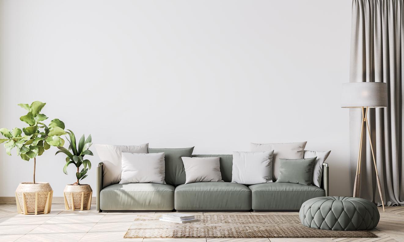 Contemporary interiér se sivou stěnou