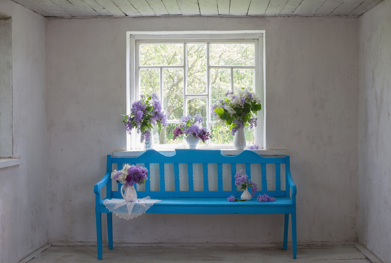 White old interior with blue bench