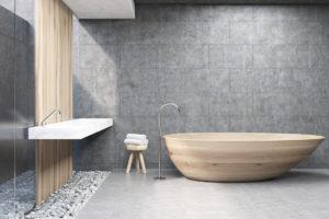 Moderní koupelna s drevěnou vanou