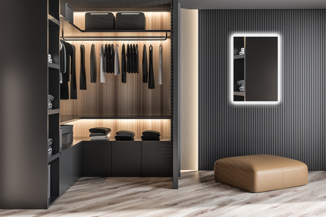 Modern,Wooden,Wardrobe,With,Clothes,Hanging,On,Rail,In,Walk