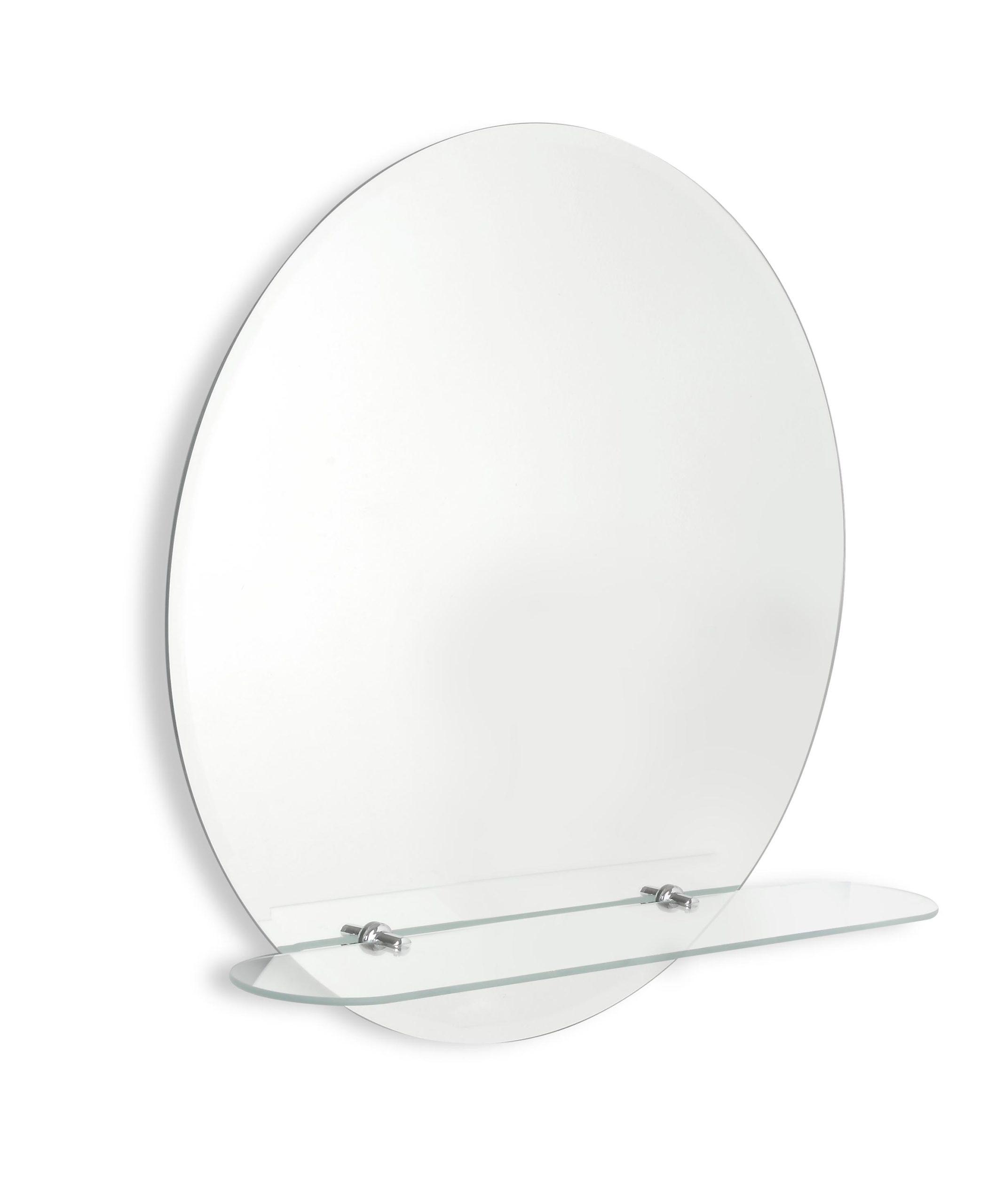 GEORGINA kulaté zrcadlo Ø 60 cm s fazetou a s poličkou zrcadla Amirro