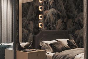 Krásné dizajnové spací místo za příčkou v malém bytě